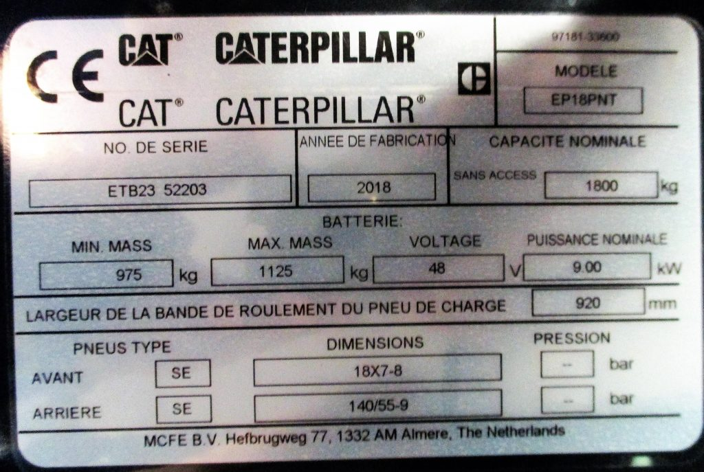 Exemple de plaque signalétique Cat