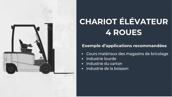 exemples d'application recommandées pour un chariot élévateur 4 roues