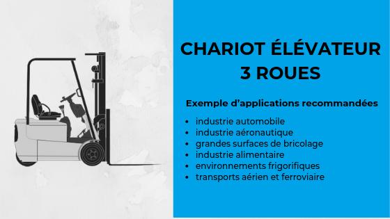 exemples d'application recommandées pour un chariot élévateur 3 roues
